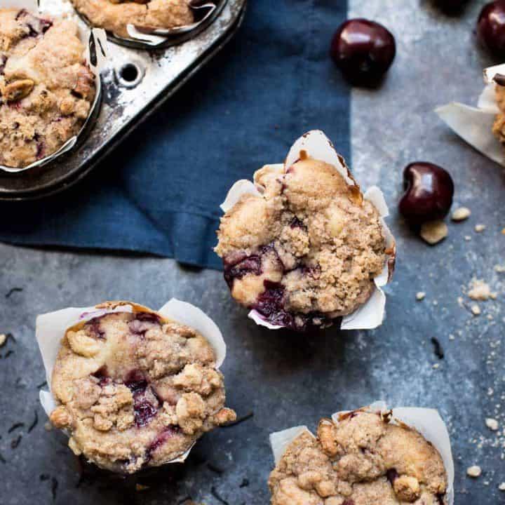 Chai Cherry Muffins with Cinnamon Crumble