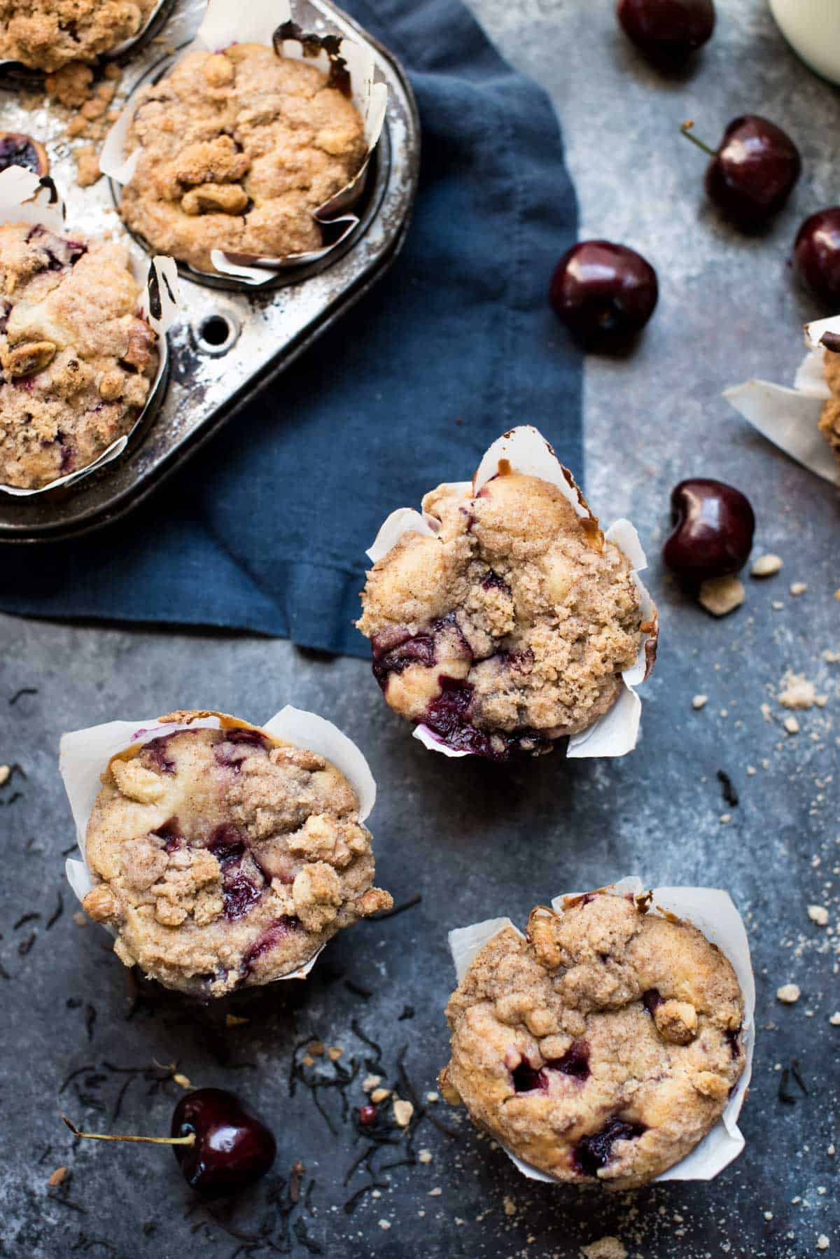 Chai Cherry Muffins with Cinnamon Crumble