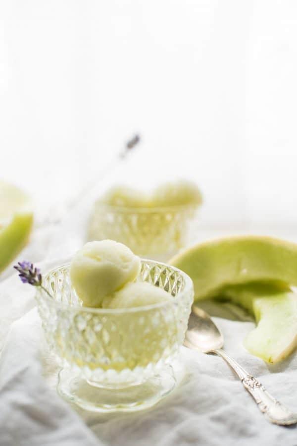 Honeydew Lavender Sorbet is the perfect summertime sweet treat! Fresh honeydew melon and light, floral lavender flavor in an smooth, frozen sorbet. #sorbet #summer #frozen #honeydewmelon #cookingwithlavender #dairyfree #glutenfree