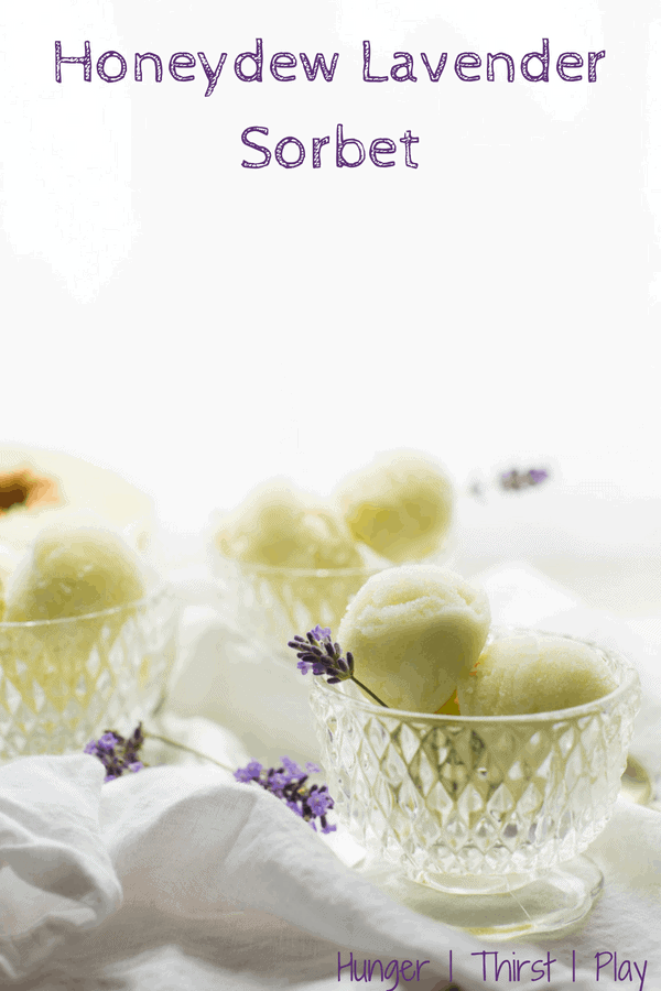 Honeydew Lavender Sorbet is the perfect summertime sweet treat!  Fresh honeydew melon and light, floral lavender flavor in an smooth, frozen sorbet. #sorbet #summer #frozen #honeydewmelon #cookingwithlavender #dairyfree #glutenfree