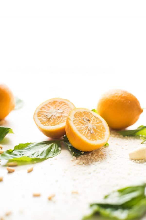 Picture of meyer lemon basil pesto ingredients