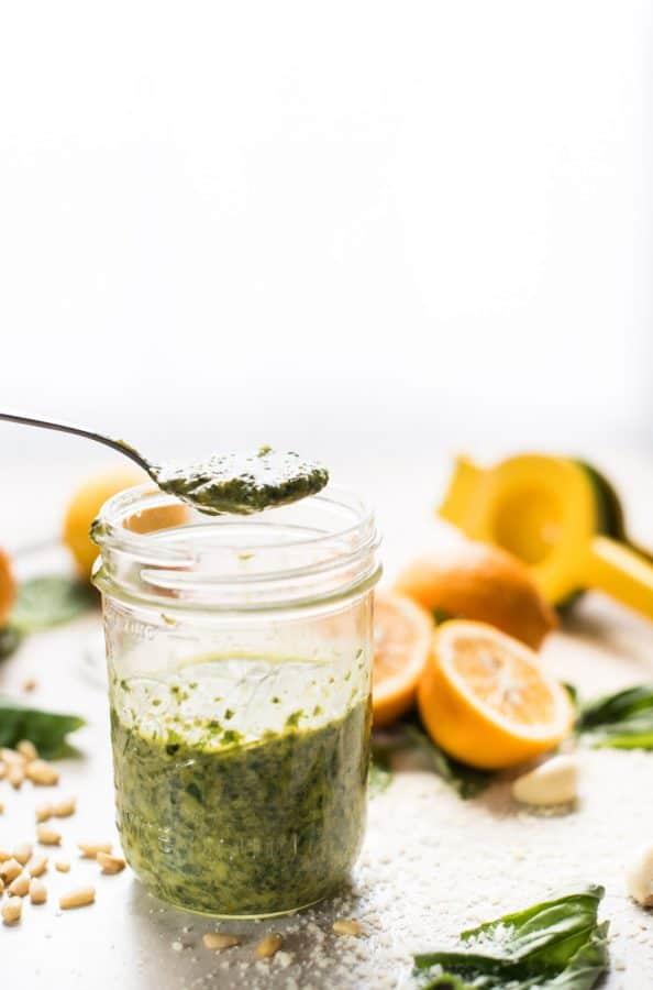 Meyer Lemon Basil Pesto Scooped