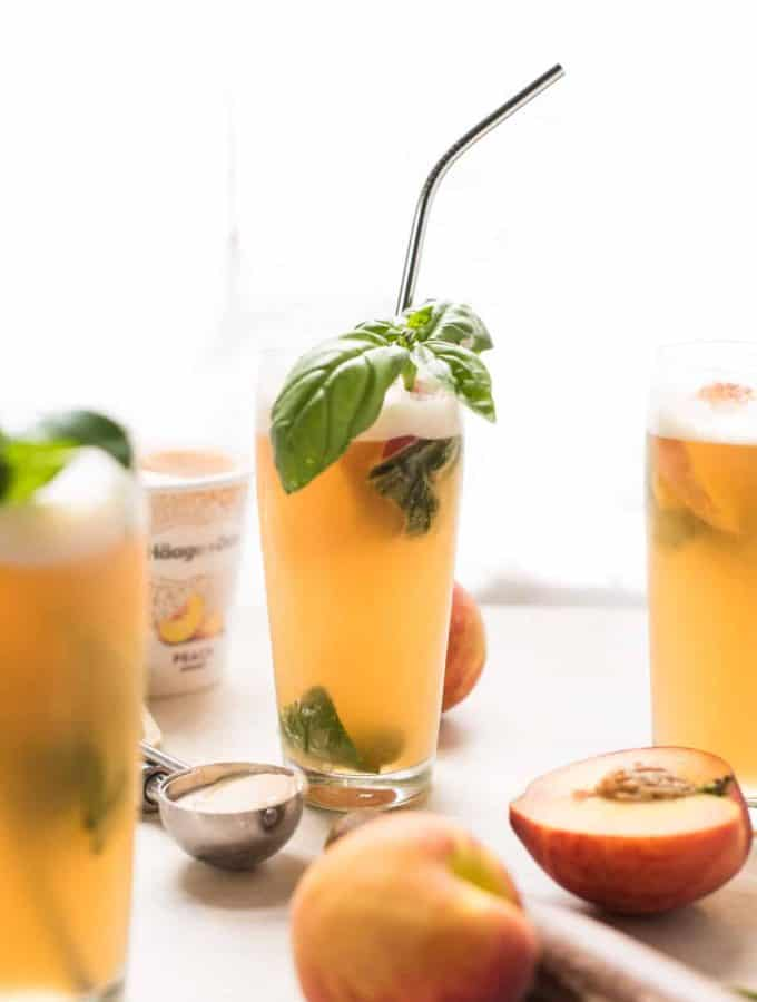 Summery Peach Basil Gin Floats
