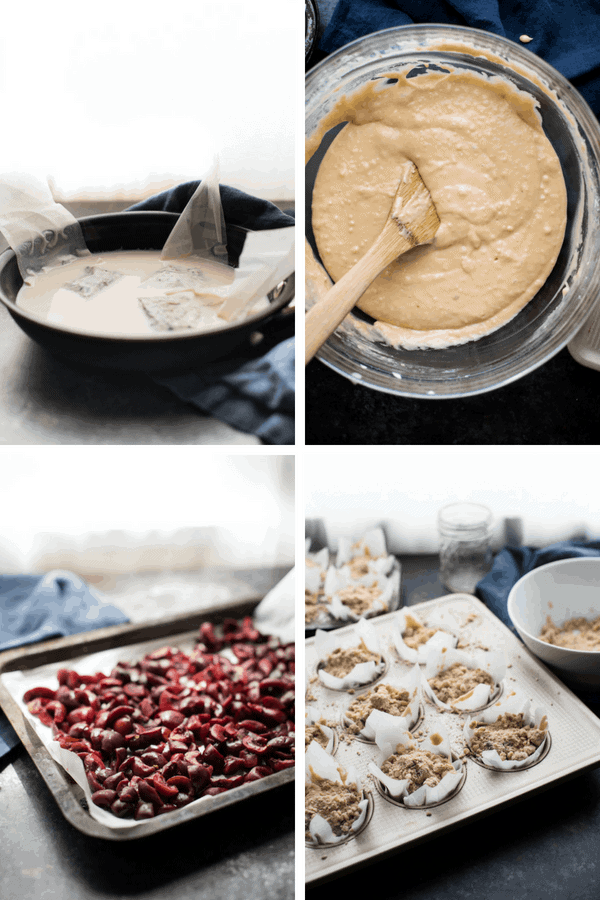 Collage of Chai Cherry Muffin Process