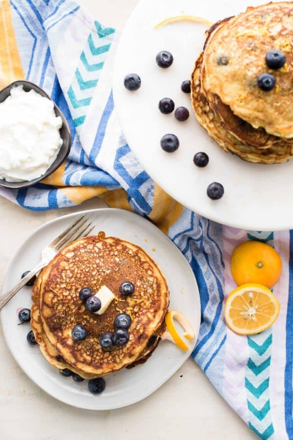 overhead photo of blueberry lemon lactation pancakes