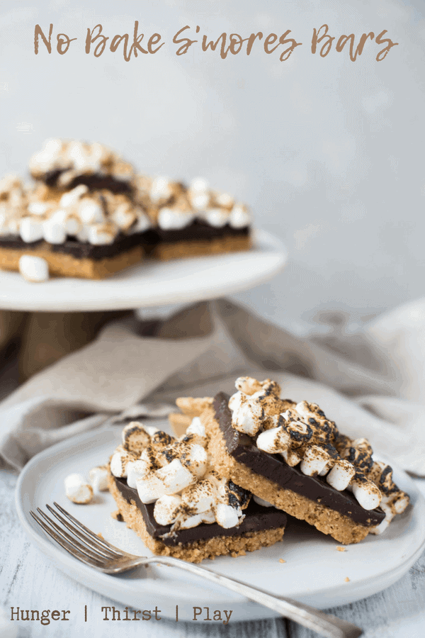No Bake S'mores Bars stacked on a plate