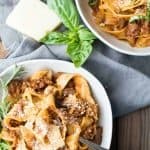 Close up of lamb ragu in bowls