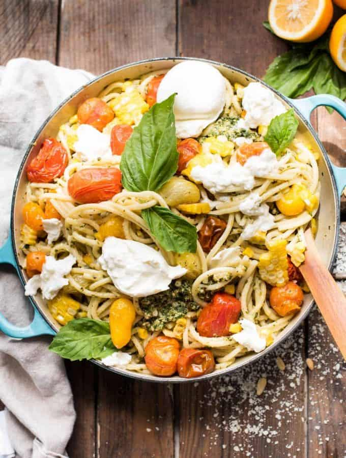 Late Summer Veggie Pesto Pasta