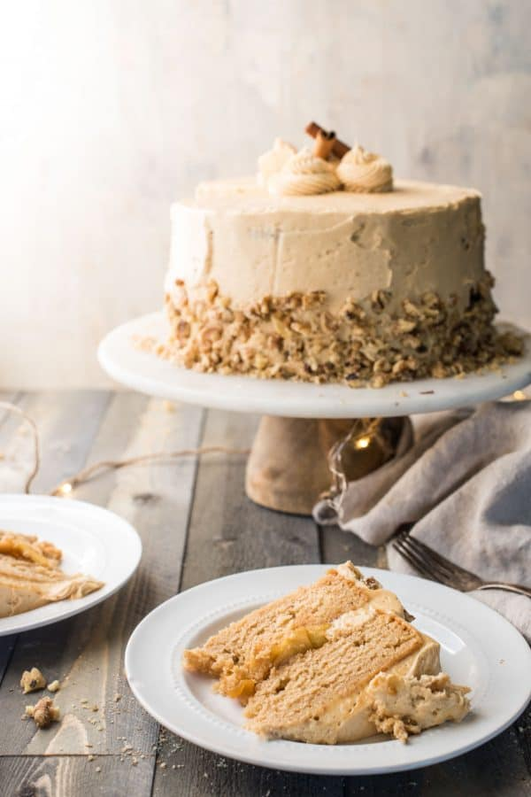 Cake and slices of apple cider cake