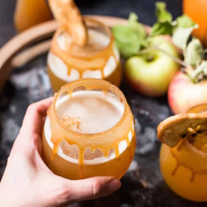 Reaching for a glass of pumpkin shandy