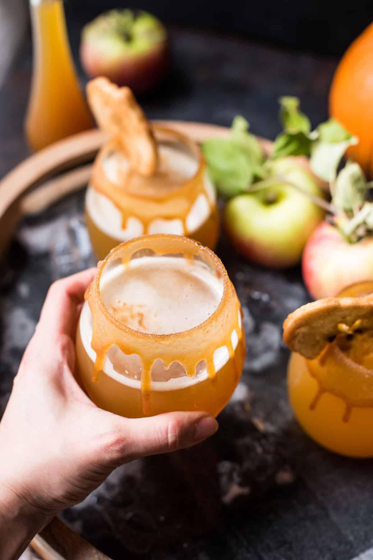 Reaching for a glass of pumpkin shandy