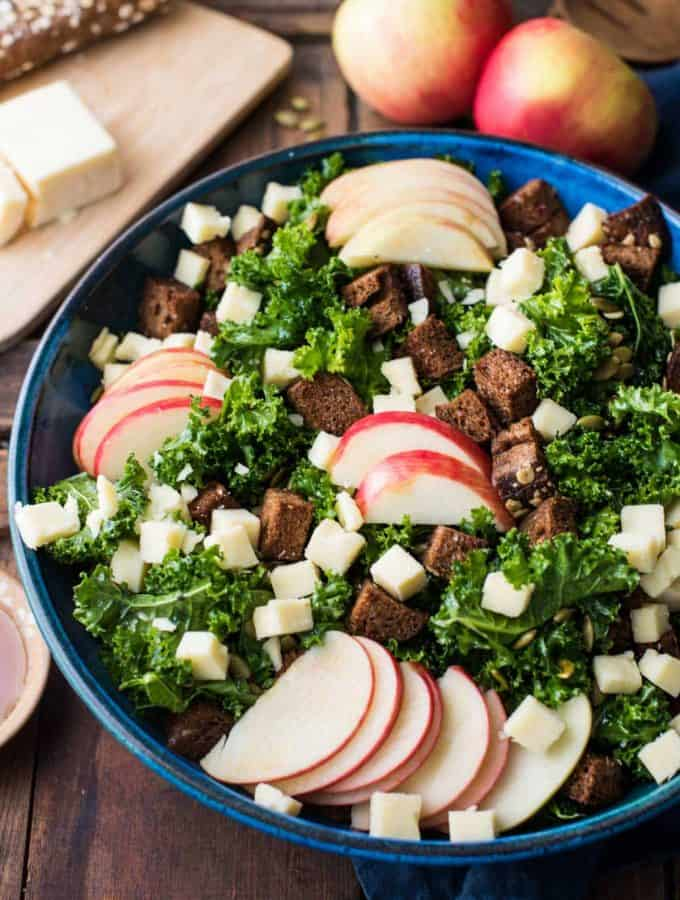 Autumn Kale Salad with Honeycrisp and Cheddar
