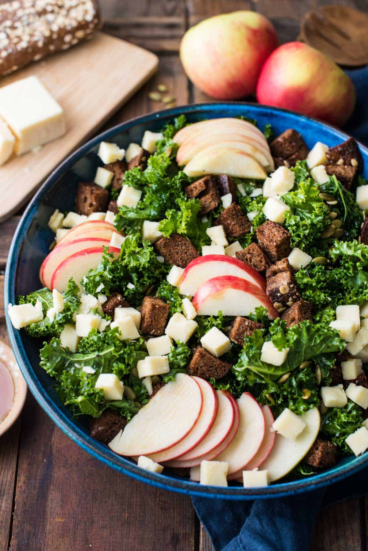 Autumn Kale Salad with Honeycrisp and Cheddar | Hunger|Thirst|Play