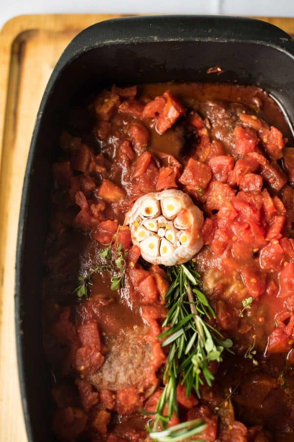 overhead of simmered osso bucco