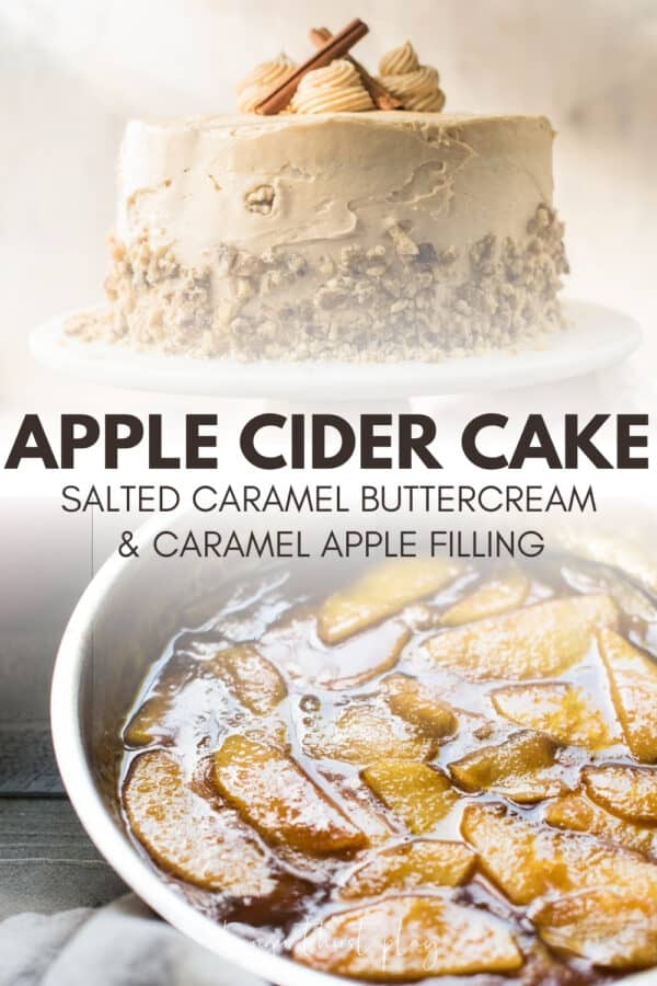 collage of apple cider cake photos