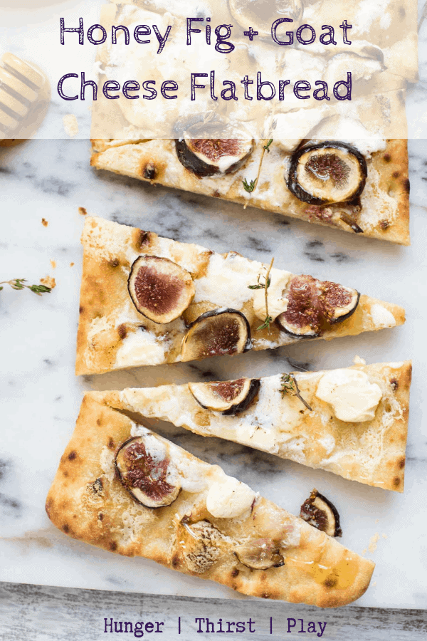 Simple, quick and delicious! Fresh juicy figs roasted with creamy mascarpone, tart goat cheese and drizzled with sweet honey on an easy to share flatbread. #easyappetizers #flatbreads #figandgoatheese