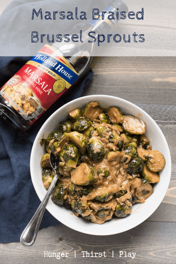 AD Bring something new to the table this holiday season with creamy, sweet and savory marsala braised Brussel sprouts. Simmered with Holland House Marsala Cooking Wine then finished in the oven this simple vegetarian side dish is perfect for a holiday meal or weeknight dinner. @hollandhousecw