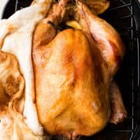 overhead photo of no base cheesecloth turkey