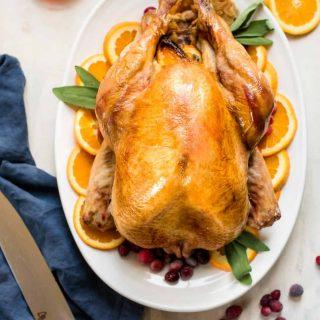 Overhead photo of roasted thanksgiving turkey