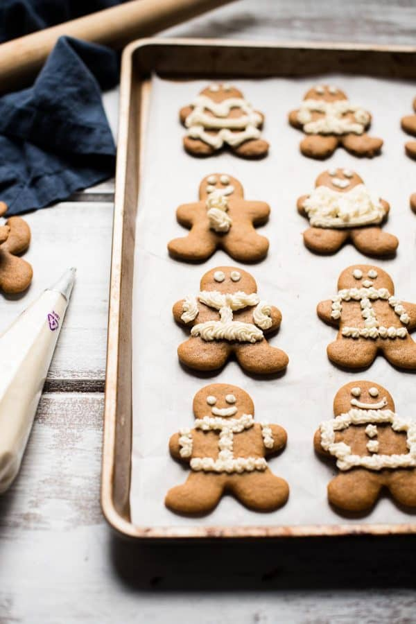 gingerbread cookies on a sheet pan
