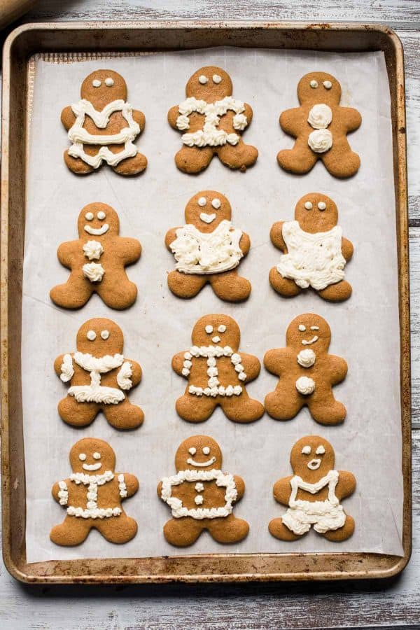 overhead photo of tray of gingerbread cookies