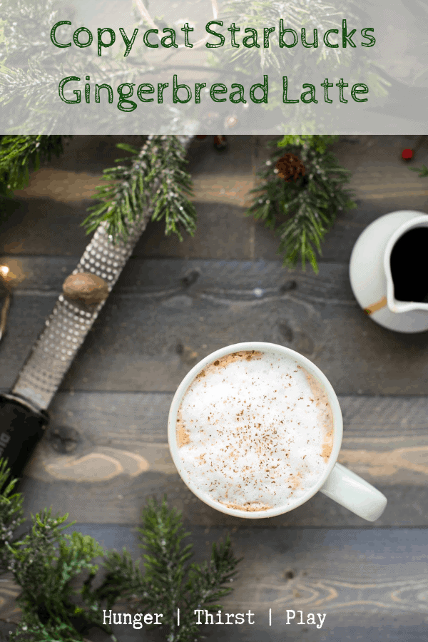 Just like Starbucks without the trip to Target. This Copycat Starbuck Gingerbread Latte is just like the cream, sweet, and ginger-laced coffee shop latte without the heavy price tag or long lines. #starbucks #copycatrecipes #gingerbread