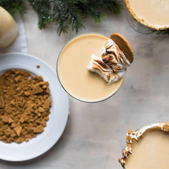 overhead photo of gingerbread eggnog
