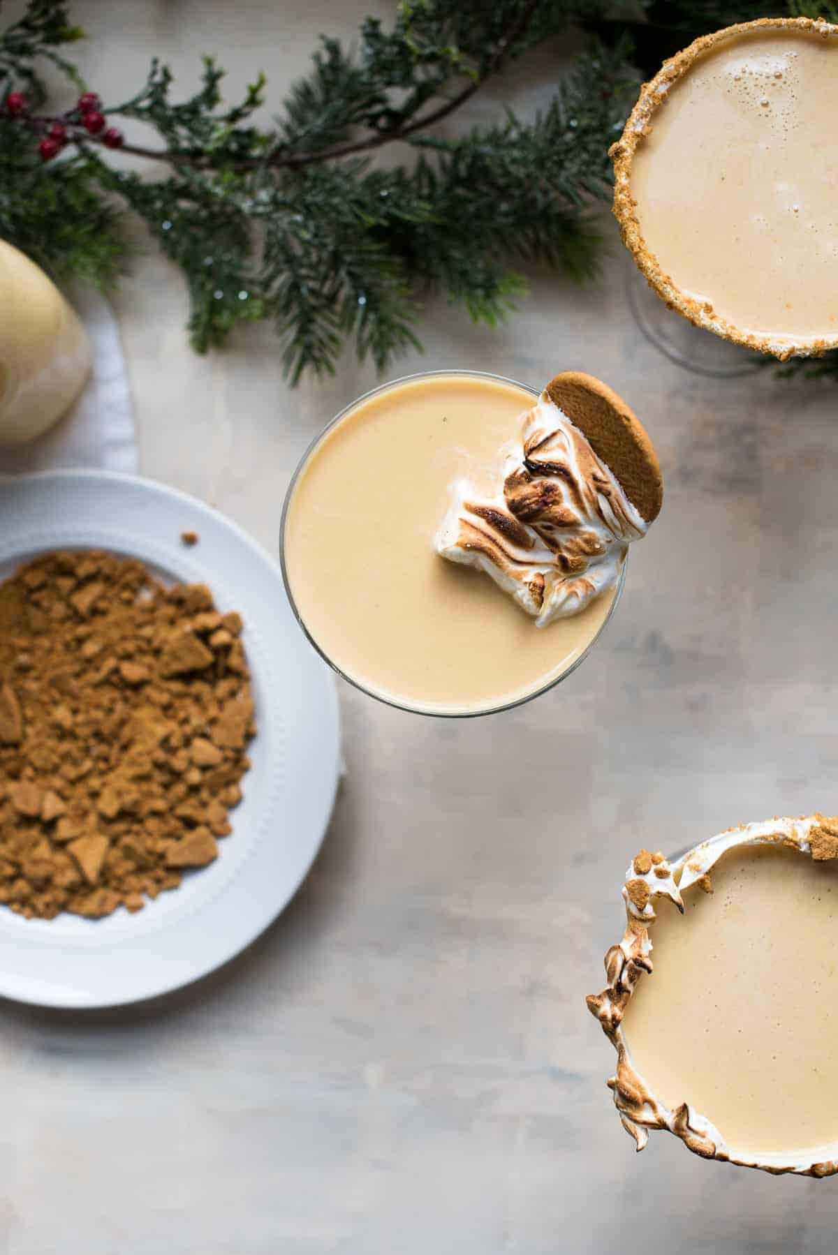 overhead photo of gingerbread eggnog