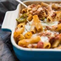 cheesy sausage and pepper pasta bake