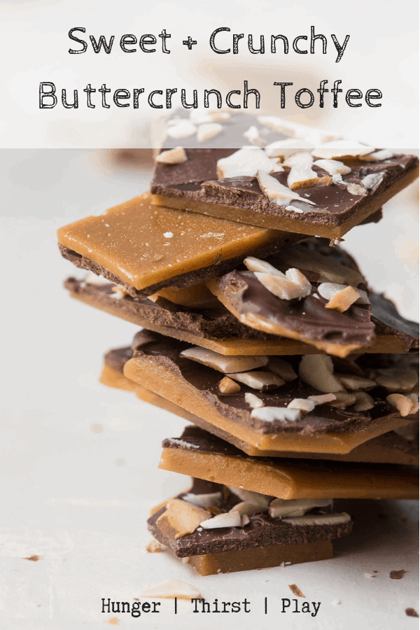 The best homemade candy! Simple to make, cools quick and disappears fast. Buttercrunch Toffee is sweet, crunch brown sugar topped with creamy milk chocolate and crunch sliced almonds. #buttercrunch #candy