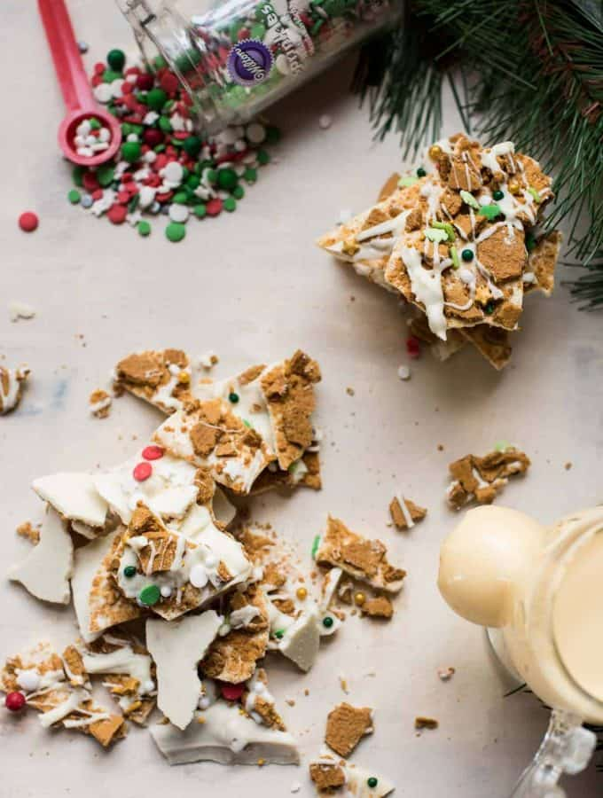 overhead photo of gingerbread bark
