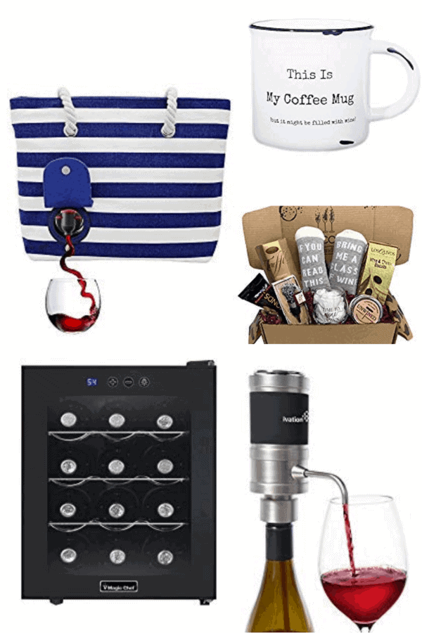 collage of gifts for wine lovers