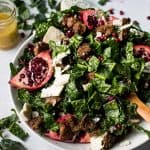 winter kale salad with blue cheese and pomegranate