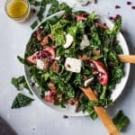 Overhead photo of winter kale salad