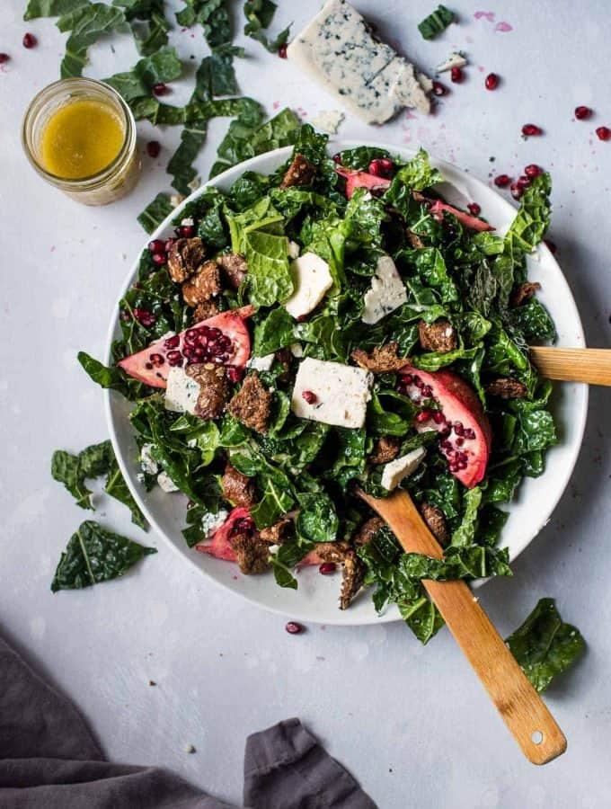 Overhead photo of winter kale salad