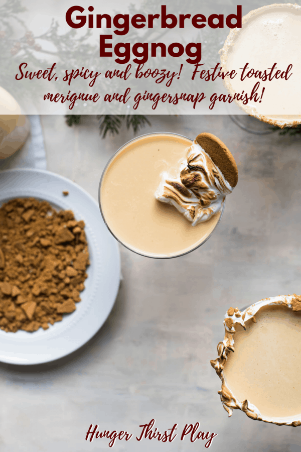 overhead angle of gingerbread eggnog in coupe glasses with crushed gingersnap garnish