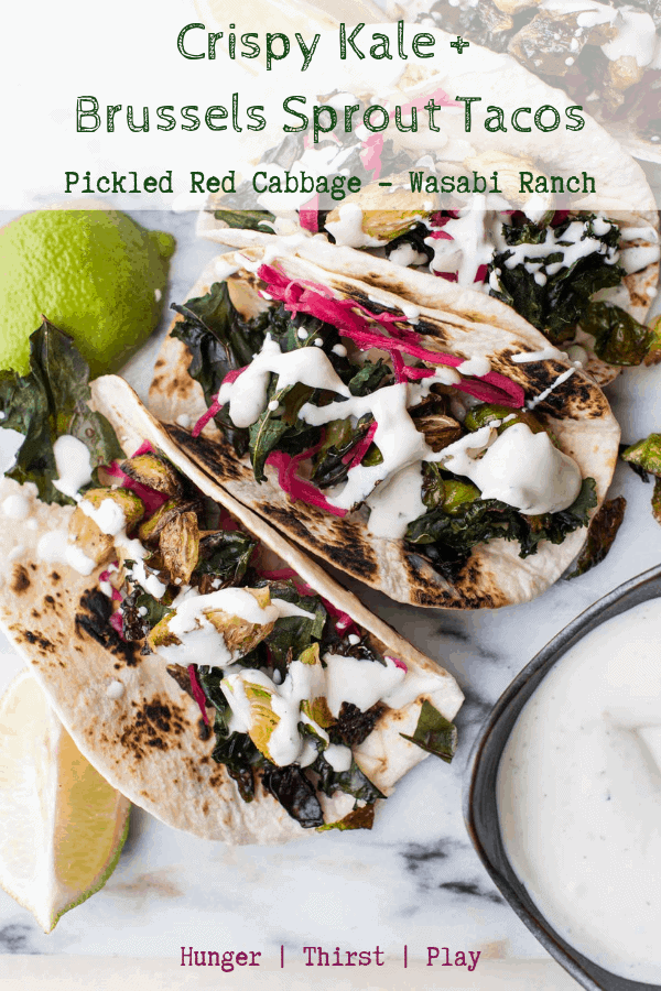 The best vegetarian tacos! Roasted brussels sprouts, crispy kale, pickled red cabbage, melty cheese, and tangy wasabi ranch. Simple and delicious! #tacos #vegetariantacos
