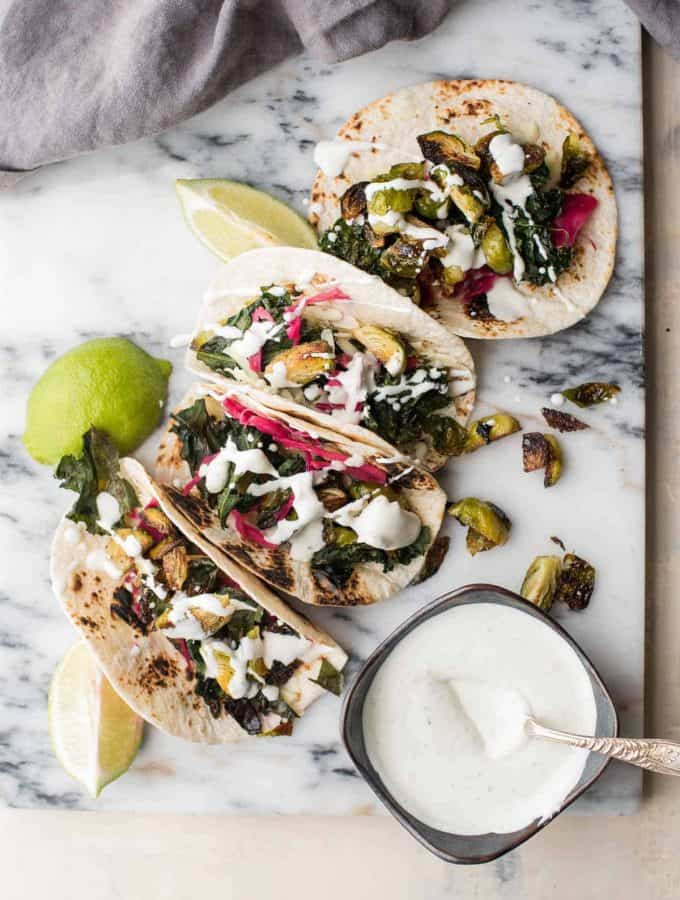 Crispy Kale and Brussels Sprout Tacos