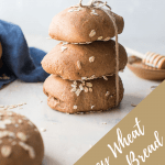 honey wheat brown bread rolls stacked