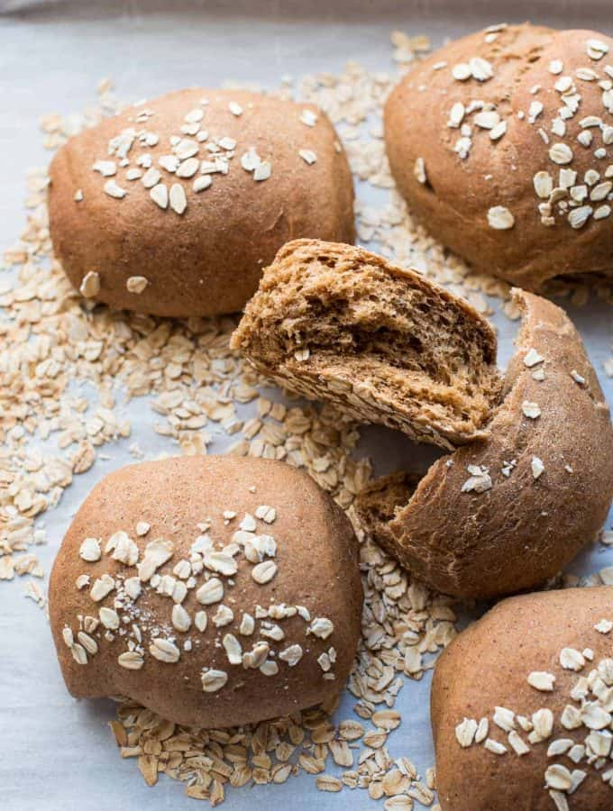 overhead photos of honey wheat brown bread rolls
