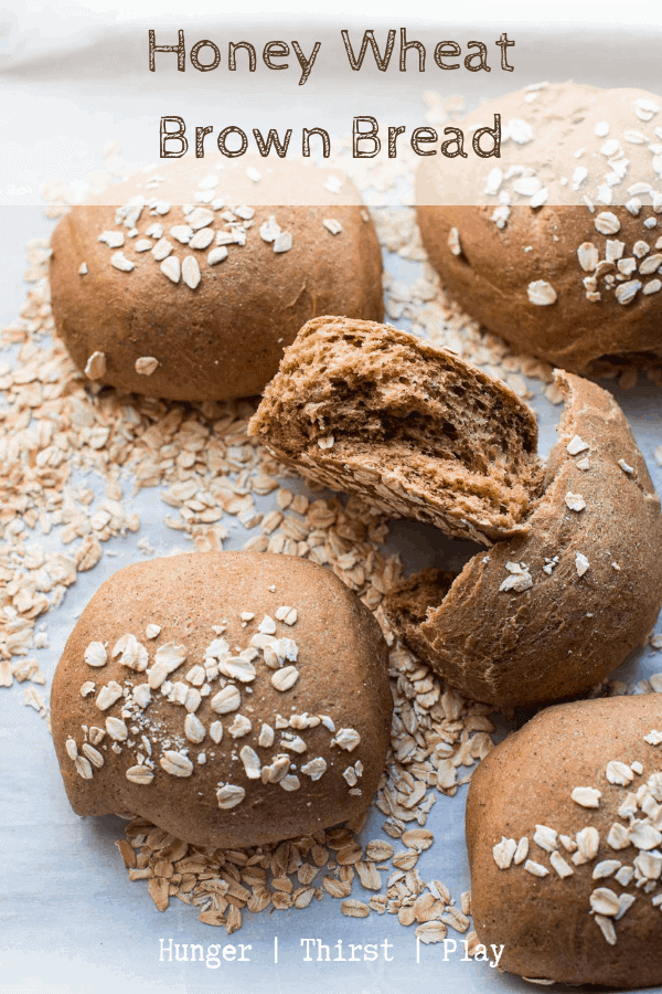 Sweet, tender wheat bread that's easy to make and hard to mess up. Honey Wheat Brown Bread is perfect to start dinner, have with breakfast or turn into croutons. #homemadebread #wheatbread