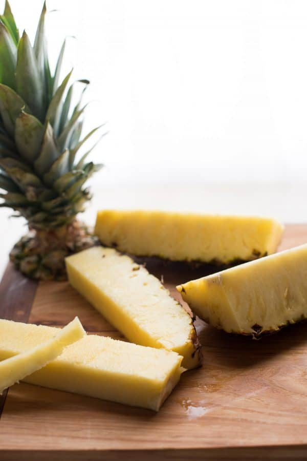 sliced spears of fresh pineapple
