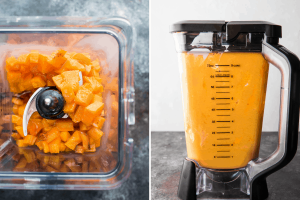 collage of roasted butternut squash cubed and blended