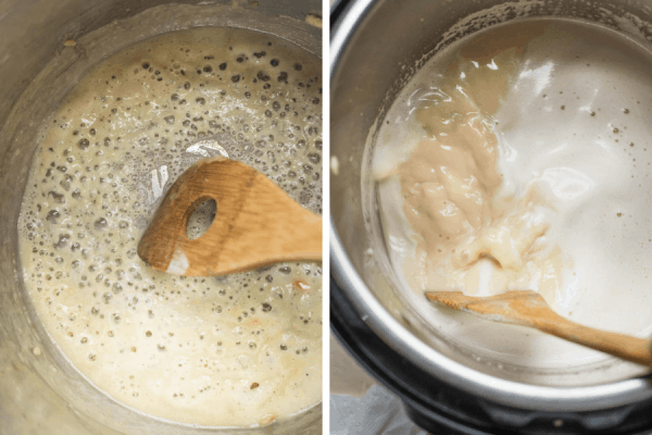 a collage of making the roux for creamy chicken and wild rice soup