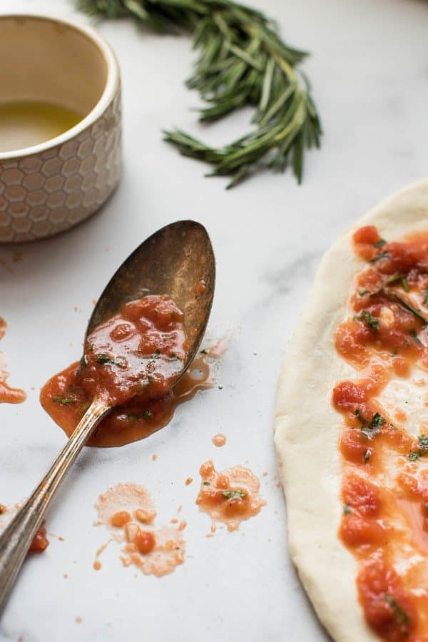 spoonful of homemade pizza sauce