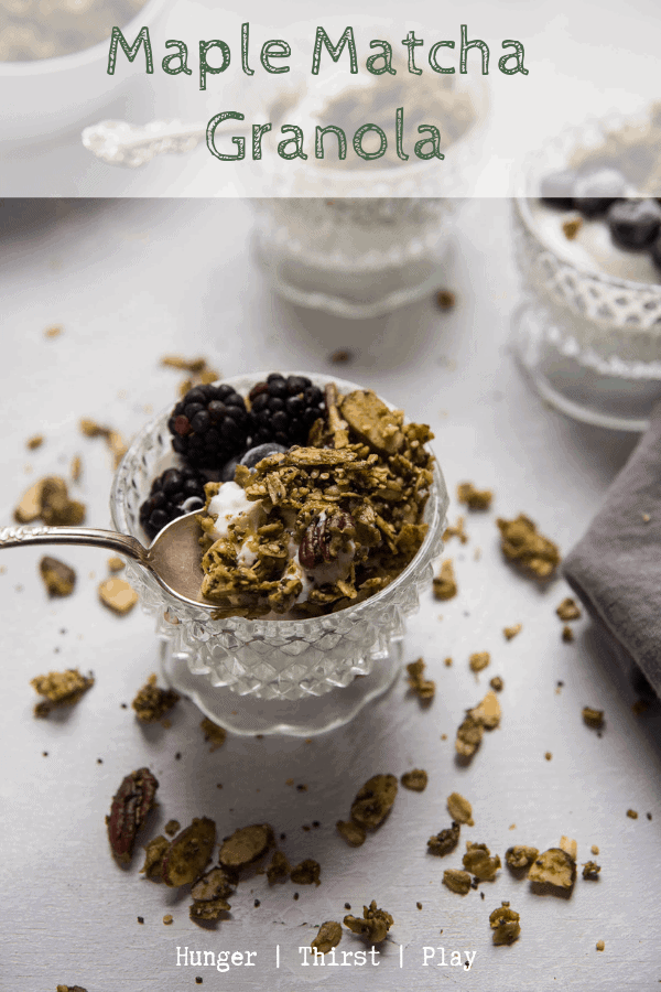 Maple Matcha Granola is the best way to give your morning breakfast a maple, green tea crunch! Hearty oats, nuts, hemp seeds, chia drizzled with matcha and maple for a sweet crunchy topping. #matcha #granola