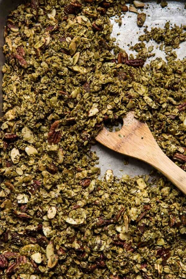 maple matcha granola after baking