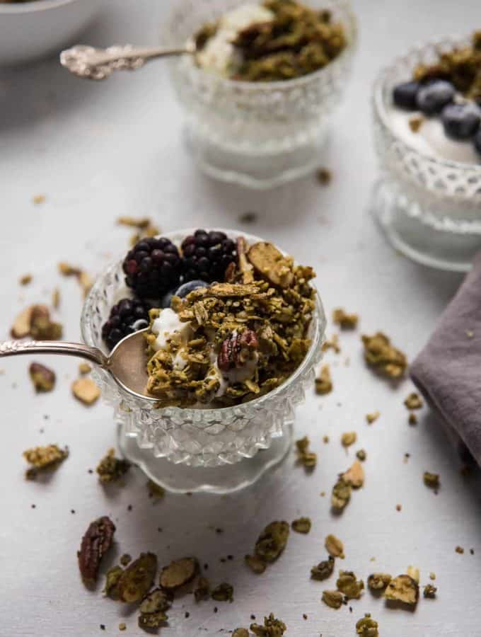 granola on top of yogurt