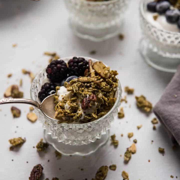 granola on top of yogurt