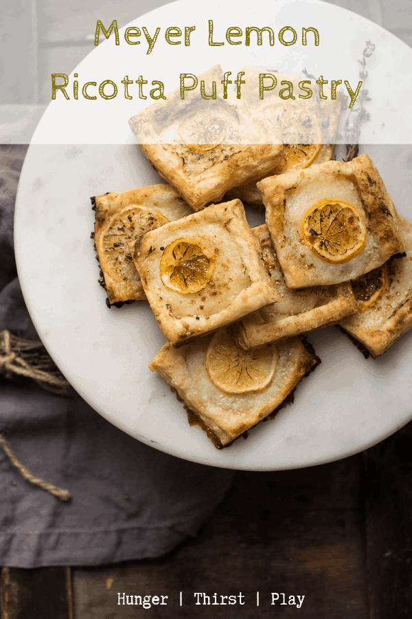 Easy, quick and shareable dessert! Meyer Lemon Ricotta Puff Pastry is perfect the brunch food too! Crispy, flaky layers of puff pastry topped with creamy sweet lemon ricotta and a caramelized sugar meyer lemon slice on top. #brunch #easydessert